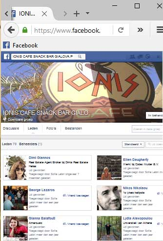 the facebook page of Ionis cafe in Gialova